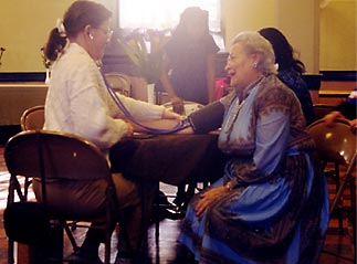 Photo of blood pressure screening at The Garden Church
